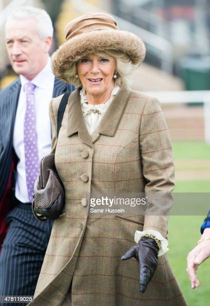 Camilla Duchess of Cornwall attends day 2 of The Cheltenham Festival at Cheltenham Racecourse on March 12 2014 in Cheltenham England