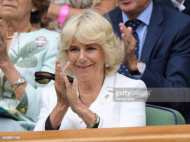 Camilla Duchess of Cornwall attends day four of the Wimbledon Tennis Championships at Wimbledon on June 30 2016 in London England