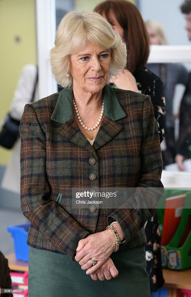 Camilla, Duchess of Cornwall attends lessons as she visits Forest and Sandridge Church of England Primary School during an away day to Wiltshire on February 9, 2016 in Melksham, England. The Duchess officially opened the new school building during her visit.