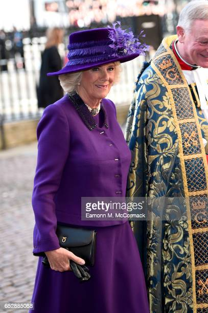 Camilla Duchess of Cornwall attends the annual Commonwealth Day service and reception during Commonwealth Day celebrations on March 13 2017 in London...