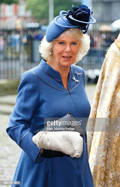 Camilla Duchess of Cornwall attends The British Food Fortnight's Harvest Festival service at Westminster Abbey on October 16 2013 in London England
