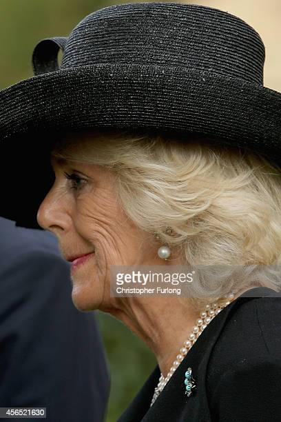Camilla Duchess of Cornwall attends the funeral of Deborah Dowager Duchess of Devonshire at St Peters Church Edensor on October 2 2014 in Chatsworth...