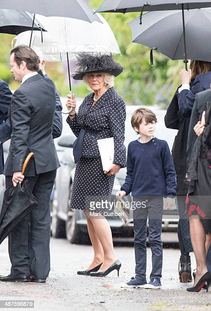 Camilla Duchess of Cornwall attends The Funeral of Mark Shand at Holy Trinity Church in Stourpaine on May 1 2014 near Blandford Forum in Dorset...