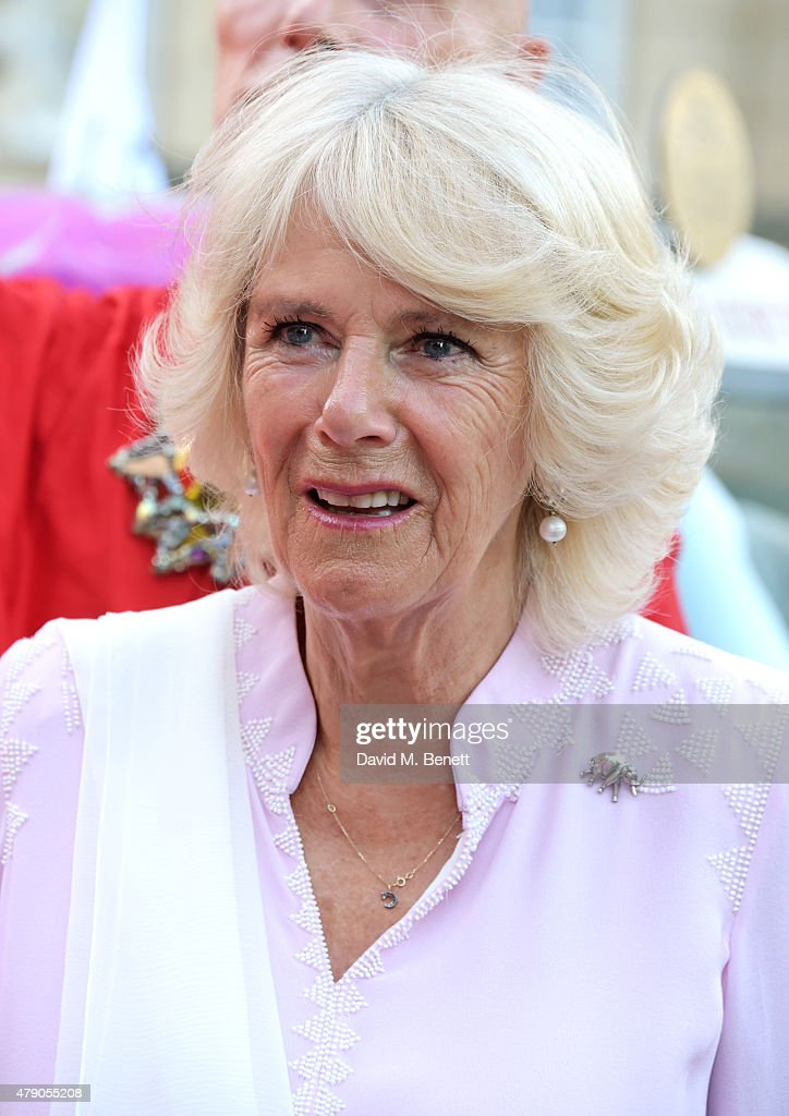 Camilla Duchess of Cornwall attends the Quintessentially Foundation and Elephant Family's Royal Rickshaw Auction presented by Selfridges at Lancaster...