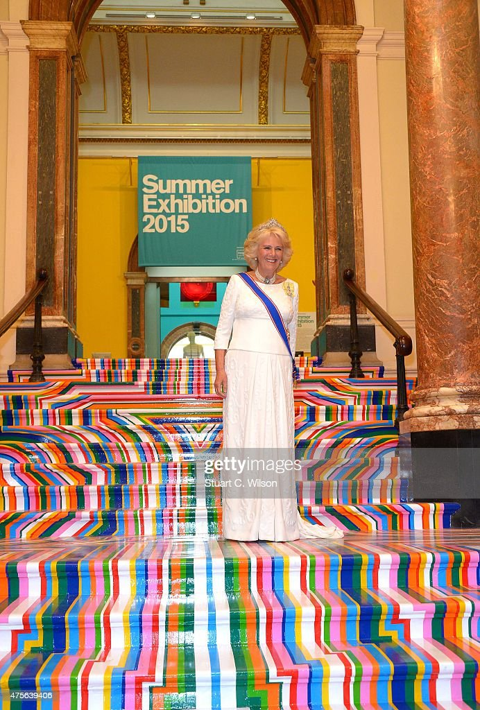 Camilla, Duchess Of Cornwall attends the Royal Academy Annual Dinner to celebrate the Summer Exhibition, opening to the public on 8 June, at Royal Academy of Arts on June 2, 2015 in London, England.