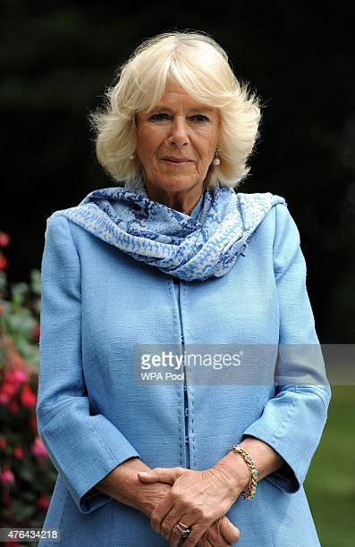 Camilla Duchess of Cornwall before the unveiling of a bust of Sir Winston Churchill in the grounds of Blenheim Palace to commemorate the 50th...