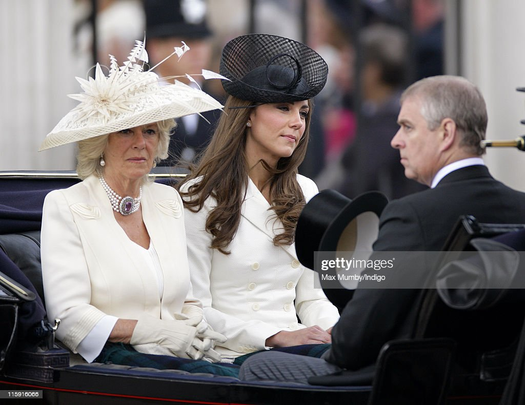 Camilla, Duchess of Cornwall, Catherine, Duchess of Cambridge and Prince Andrew, Duke of York travel down The Mall in a horse drawn carriage as they attend the Trooping the Colour parade on June 11, 2011 in London, England. The ceremony of Trooping the Colour is believed to have first been performed during the reign of King Charles II. In 1748, it was decided that the parade would be used to mark the official birthday of the Sovereign. More than 600 guardsmen and cavalry make up the parade, a celebration of the Sovereign's official birthday, although the Queen's actual birthday is on 21 April.