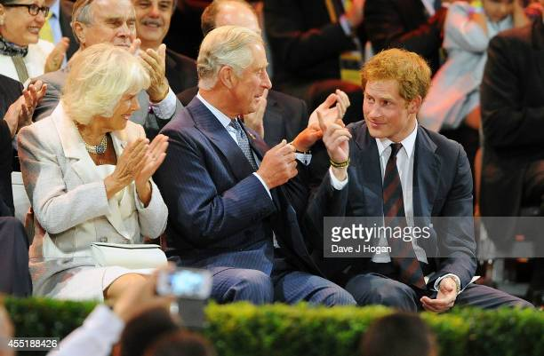 Camilla Duchess of Cornwall Charles Prince of Wales and Prince Harry after Prince Harry's speech during the Opening Ceremony of the Invictus Games at...