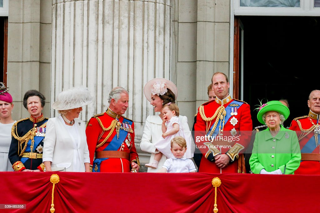 Camilla, Duchess of Cornwall, Charles, Prince of Wales, Catherine, Duchess of Cambridge, Princess Charlotte, Prince George and Prince William, Duke of Cambridge, Queen Elizabeth II and Prince Philip, Duke of Edinburgh stand on the balcony during the Trooping the Colour, this year marking the Queen's official 90th birthday at The Mall on June 11, 2016 in London, England. The ceremony is Queen Elizabeth II's annual birthday parade and dates back to the time of Charles II in the 17th Century when the Colours of a regiment were used as a rallying point in battle.