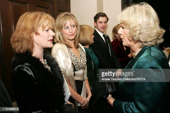 Camilla Duchess of Cornwall chats to actress Samantha Bond one of the presenter's of 'The Story of Christmas' at StGeorge's Church on December19 2006...