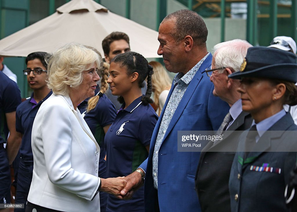 <a gi-track='captionPersonalityLinkClicked' href=/galleries/search?phrase=Camilla+-+Duchess+of+Cornwall&family=editorial&specificpeople=158157 ng-click='$event.stopPropagation()'>Camilla</a>, Duchess of Cornwall chats to former ball boy Winston Norton during a visit to the Lawn Tennis Championships at the All England Lawn Tennis Club on June 30, 2016 in London, England.