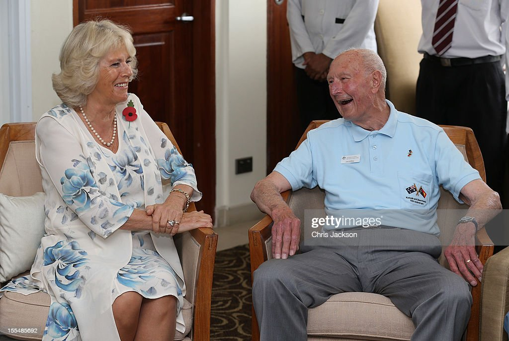 <a gi-track='captionPersonalityLinkClicked' href=/galleries/search?phrase=Camilla+-+Duchess+of+Cornwall&family=editorial&specificpeople=158157 ng-click='$event.stopPropagation()'>Camilla</a>, Duchess of Cornwall chats to Kokoda Campaign veteran Len Griffiths during a reception for Kokoda Veterans on the 70th Anniversary of the Australian battle against to Japanese at the Airways Hotel on November 4, 2012 in Port Moresby, Papua New Guinea. The Royal couple are in Papua New Guinea on the first leg of a Diamond Jubilee Tour taking in Papua New Guinea, Australia and New Zealand.