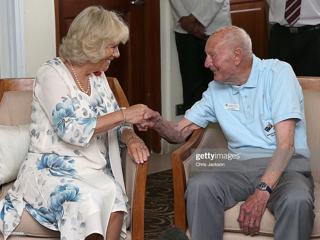 <a gi-track='captionPersonalityLinkClicked' href=/galleries/search?phrase=Camilla+-+Hertiginna+av+Cornwall&family=editorial&specificpeople=158157 ng-click='$event.stopPropagation()'>Camilla</a>, Duchess of Cornwall chats to Kokoda Campaign veteran Len Griffiths during a reception for Kokoda Veterans on the 70th Anniversary of the Australian battle against to Japanese at the Airways Hotel on November 4, 2012 in Port Moresby, Papua New Guinea. The Royal couple are in Papua New Guinea on the first leg of a Diamond Jubilee Tour taking in Papua New Guinea, Australia and New Zealand.