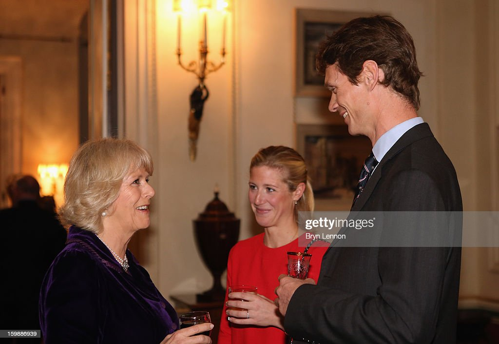 Camilla Duchess of Cornwall chats to Laura Bechtolsheimer and William FoxPitt during a reception hosted by the Duchess of Cornwall for the British...