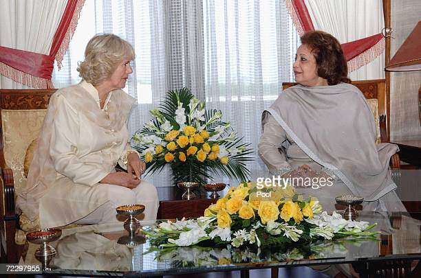 Camilla Duchess of Cornwall chats to Sebha Musharraf at the Presidency on day two of a week long royal tour of the country on October 30 2006 in...