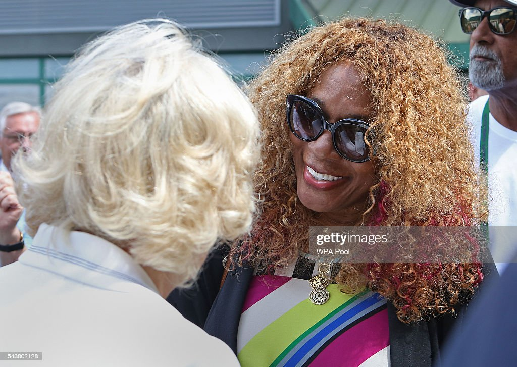 <a gi-track='captionPersonalityLinkClicked' href=/galleries/search?phrase=Camilla+-+Duchess+of+Cornwall&family=editorial&specificpeople=158157 ng-click='$event.stopPropagation()'>Camilla</a>, Duchess of Cornwall chats with chats with <a gi-track='captionPersonalityLinkClicked' href=/galleries/search?phrase=Oracene+Price&family=editorial&specificpeople=3103846 ng-click='$event.stopPropagation()'>Oracene Price</a>, the mother of Venus and Serena Williams, during a visit to the Lawn Tennis Championships at the All England Lawn Tennis Club on June 30, 2016 in London, England.