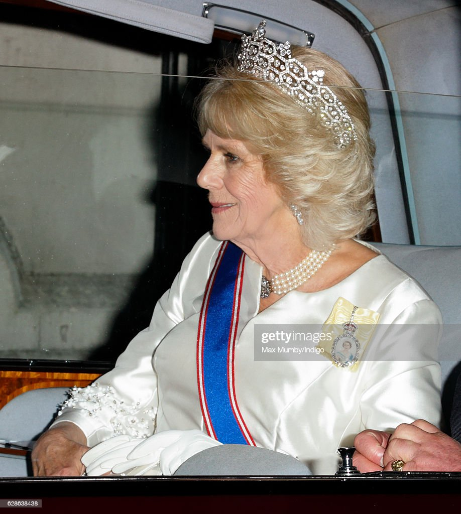 Camilla, Duchess of Cornwall departs after attending the annual Diplomatic Reception at Buckingham Palace on December 8, 2016 in London, England.