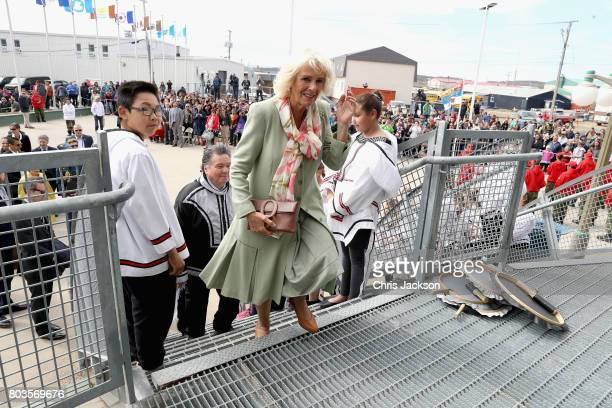 Camilla Duchess of Cornwall during a an official welcome ceremony at Nunavut Legislative Assembley during a 3 day official visit to Canada on June 29...