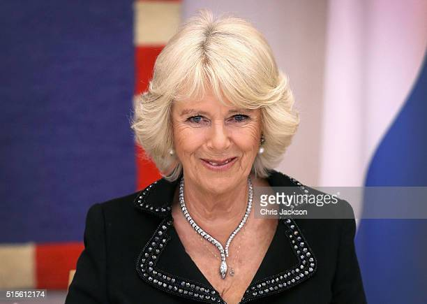 Camilla Duchess of Cornwall during a dinner at the Presidential Palace on the first day of a two day visit to Croatia on March 14 2016 in Zagreb...