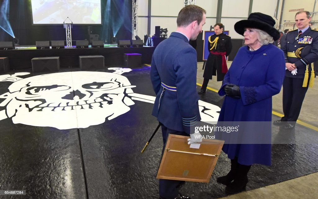 Camilla, Duchess of Cornwall during a visit to RAF Leeming for the 100 Squadron Centenary on March 18, 2017 in Gatenby, Northallerton, England.