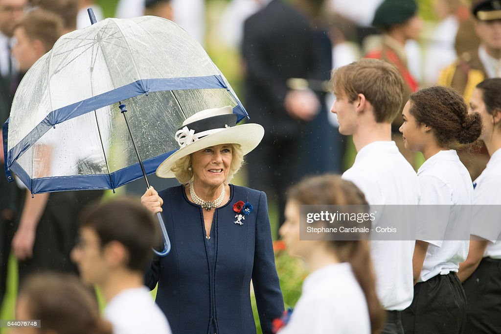 Camilla, Duchess of Cornwall during the Commemoration of the Centenary of the Battle of the Somme at the Commonwealth War Graves Commission Thiepval Memorial on July 1, 2016 in Thiepval, France.