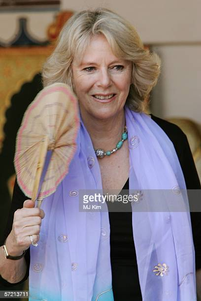 Camilla Duchess of Cornwall fans hersefl as she visits the arts and craft market at the Jodhpur fort on the eleventh day of their 12 day official...