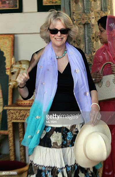 Camilla Duchess of Cornwall fans herself as she visits the arts and craft market at the Jodhpur fort on the eleventh day of their 12 day official...