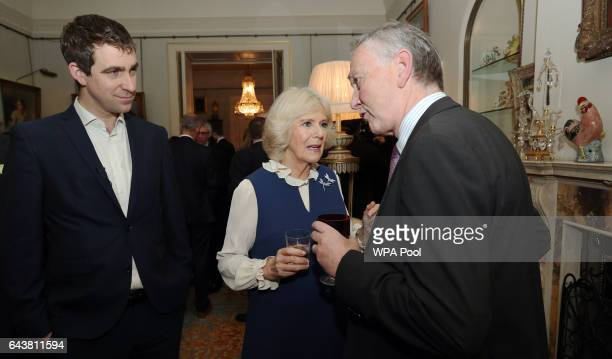 Camilla Duchess of Cornwall flanked by Brendan Cox meets Richard Scudamore Chief Executive of the Premier League during a reception to launch The...