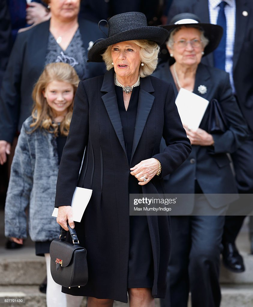 <a gi-track='captionPersonalityLinkClicked' href=/galleries/search?phrase=Camilla+-+Duchess+of+Cornwall&family=editorial&specificpeople=158157 ng-click='$event.stopPropagation()'>Camilla</a>, Duchess of Cornwall followed by Elspeth Howe (r) attends a Service of Thanksgiving for the life of Geoffrey Howe (Lord Howe of Aberavon) at St Margaret's Church, Westminster Abbey on May 3, 2016 in London, England. Conservative politician Geoffrey Howe who served as Chancellor of the Exchequer and Foreign Secretary during the 1980's died aged 88 on October 9, 2015.