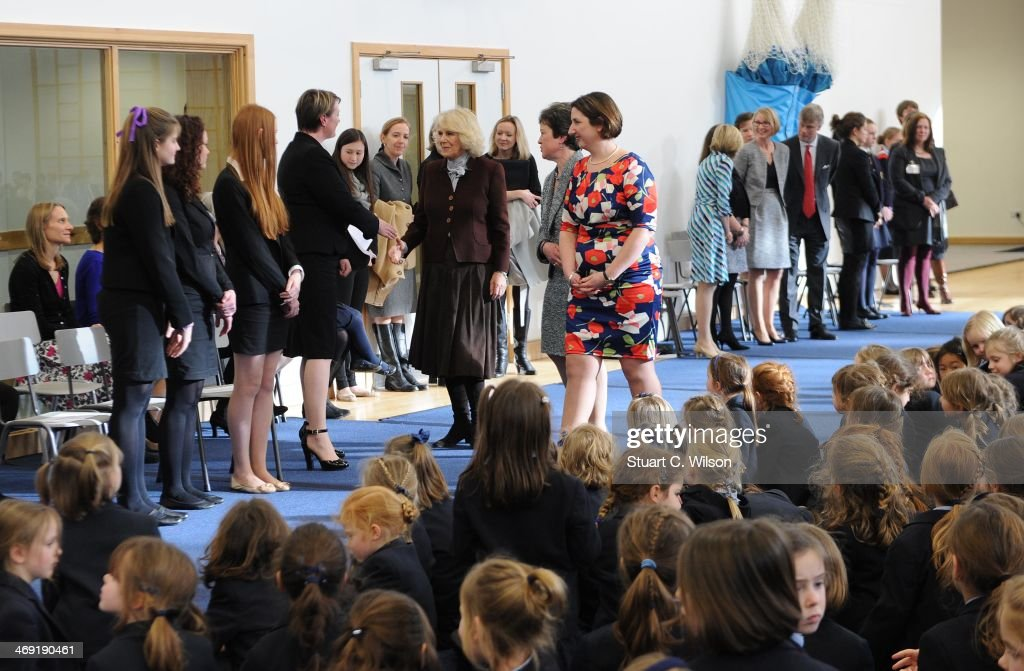 <a gi-track='captionPersonalityLinkClicked' href=/galleries/search?phrase=Camilla+-+Duchess+of+Cornwall&family=editorial&specificpeople=158157 ng-click='$event.stopPropagation()'>Camilla</a>, Duchess Of Cornwall greets people at St Catherine's School in Bramley, Surrey on February 13, 2014 in Guildford, England.