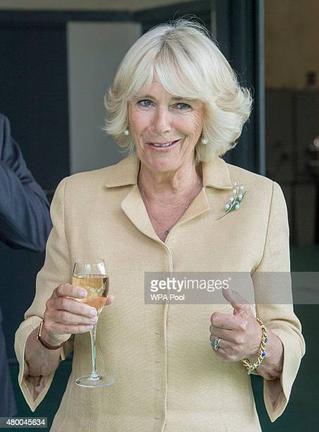 Camilla Duchess of Cornwall holds a wine glass as she tours the Ancre Hill vineyard on July 9 2015 in Monmouth Wales The Duchess met staff and...