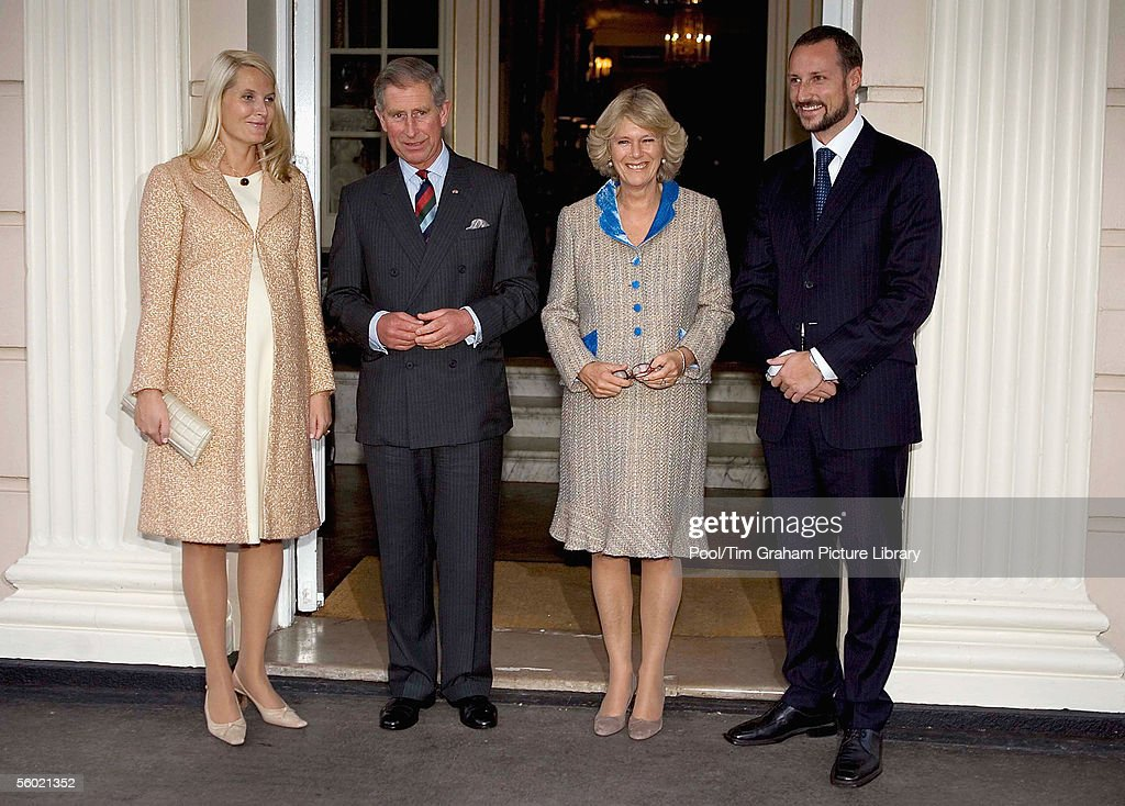 Camilla, Duchess of Cornwall, husband Prince Charles, Prince of Wales, welcome Crown Prince Haakon and Princess Mette-Marit of Norway, pregnant and expecting a baby very soon, to Clarence House on October 26, 2005 in London, England.