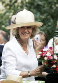 Camilla Duchess of Cornwall in an open carriage at the Sandringham Flower Show on July 26 2006 in Norfolk England