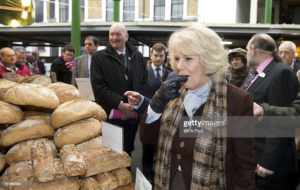 <a gi-track='captionPersonalityLinkClicked' href=/galleries/search?phrase=Camilla+-+Duchess+of+Cornwall&family=editorial&specificpeople=158157 ng-click='$event.stopPropagation()'>Camilla</a>, Duchess of Cornwall inspects some loaves of bread during a visit to Borough Market on February 13, 2013 in London, England.