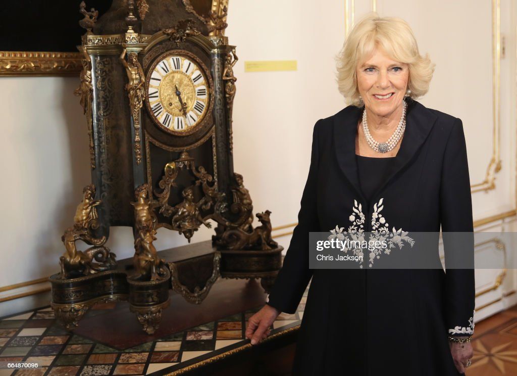 Camilla, Duchess of Cornwall is given a on a tour of the presidential apartments by First Lady, Doris Schmidauer as she visits Hofburg Palace on April 5, 2017 in Vienna, Austria.