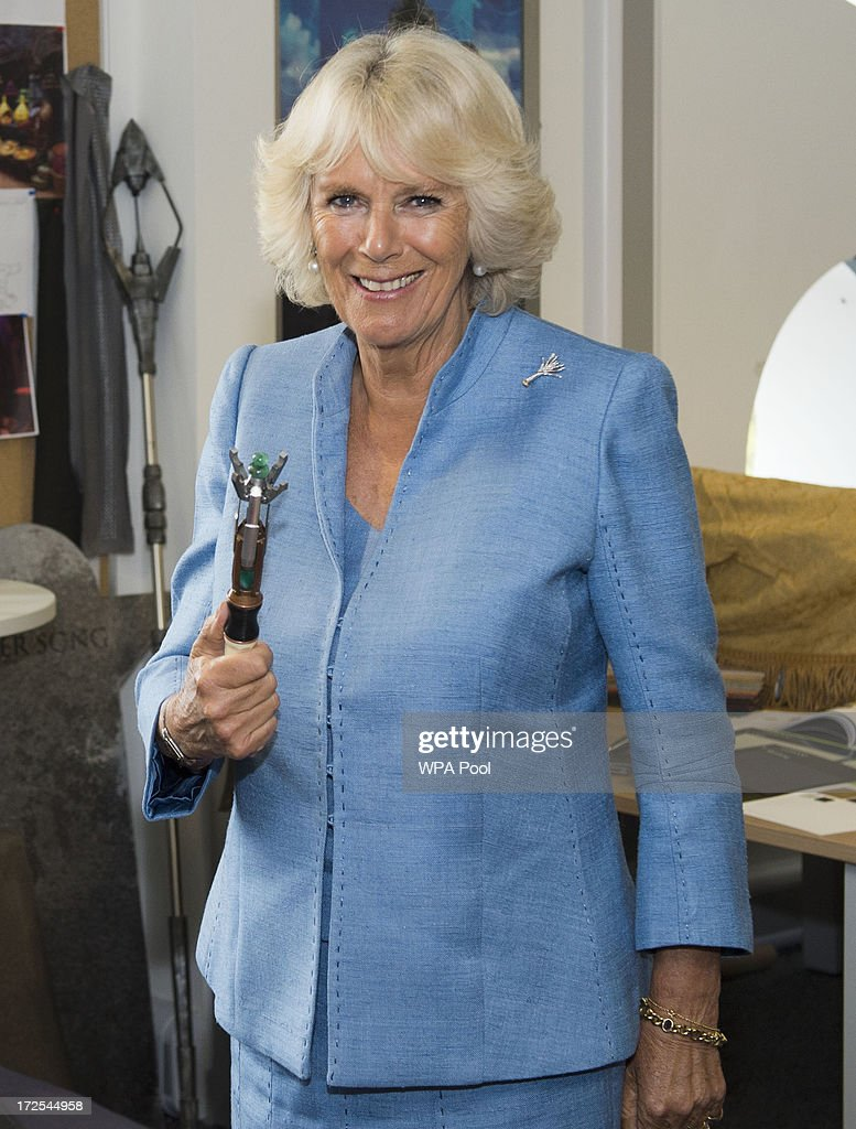 <a gi-track='captionPersonalityLinkClicked' href=/galleries/search?phrase=Camilla+-+Duchess+of+Cornwall&family=editorial&specificpeople=158157 ng-click='$event.stopPropagation()'>Camilla</a>, Duchess of Cornwall is pictured with the sonic screwdriver during their visit to the set of the BBC One drama series 'Doctor Who' at BBC Roath Lock Studios on July 3, 2013 in Cardiff, Wales.