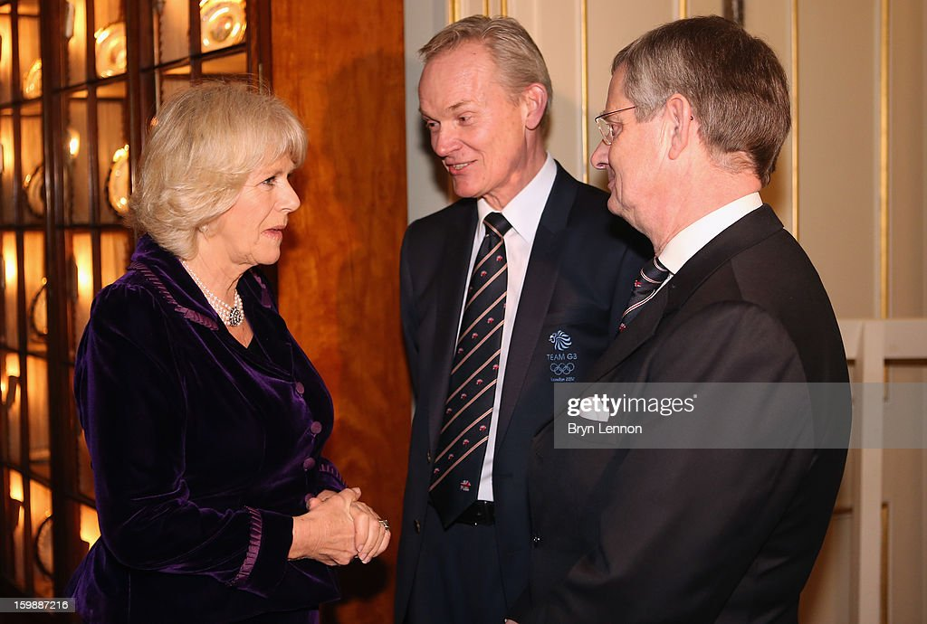 Camilla, Duchess of Cornwall is seen talking to guests during a reception hosted by the Duchess of Cornwall for the British Equestrian Teams from the London 2012 Olympics And Paralympics at Clarence House on January 22, 2013 in London, England.