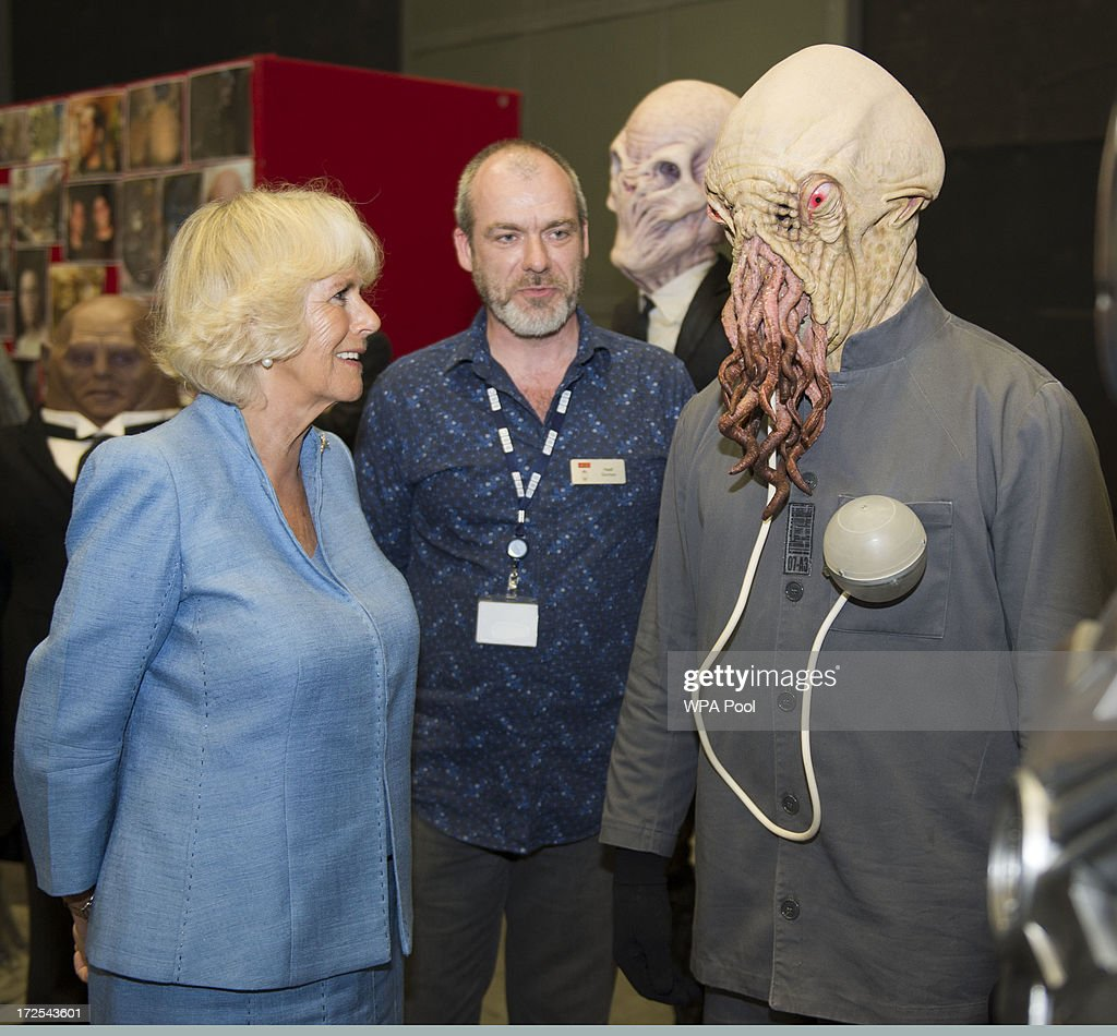 <a gi-track='captionPersonalityLinkClicked' href=/galleries/search?phrase=Camilla+-+Duchess+of+Cornwall&family=editorial&specificpeople=158157 ng-click='$event.stopPropagation()'>Camilla</a>, Duchess of Cornwall is seen with one of the ood during their visit to the set of the BBC One drama series 'Doctor Who' at BBC Roath Lock Studios on July 3, 2013 in Cardiff, Wales.