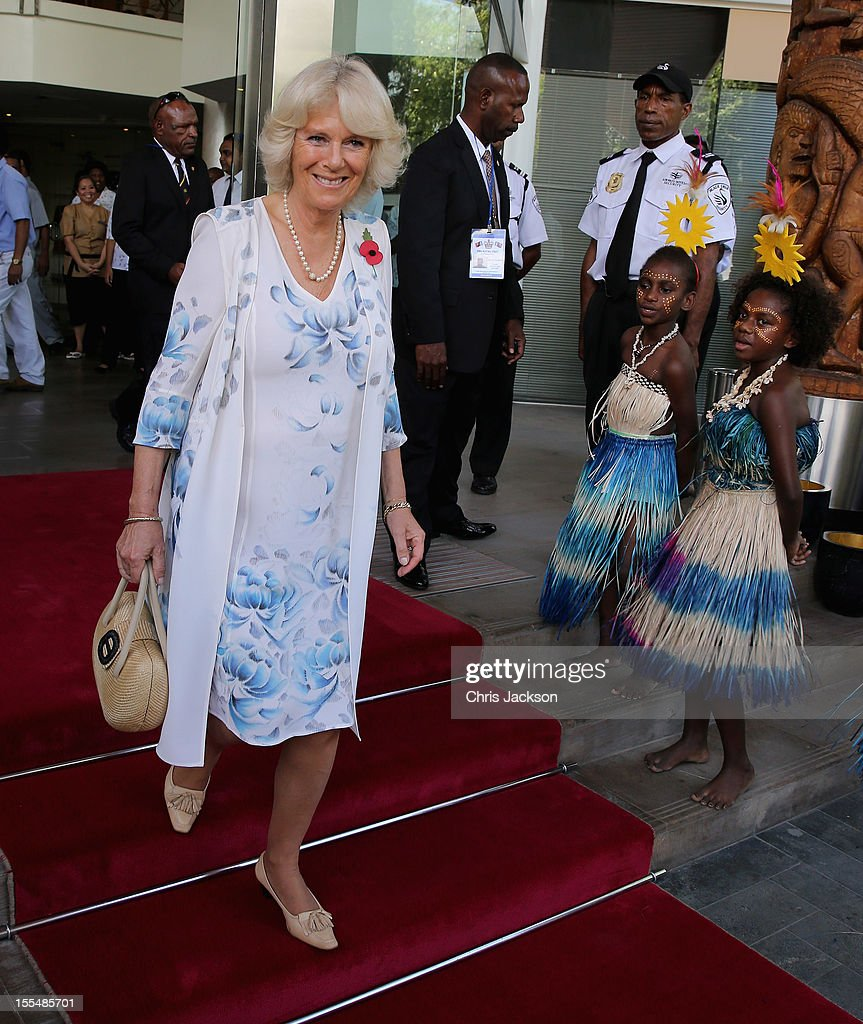 Camilla, Duchess of Cornwall is sung to by dancers as she leaves the Airways Hotel on November 4, 2012 in Port Moresby, Papua New Guinea. The Royal couple are in Papua New Guinea on the first leg of a Diamond Jubilee Tour taking in Papua New Guinea, Australia and New Zealand.