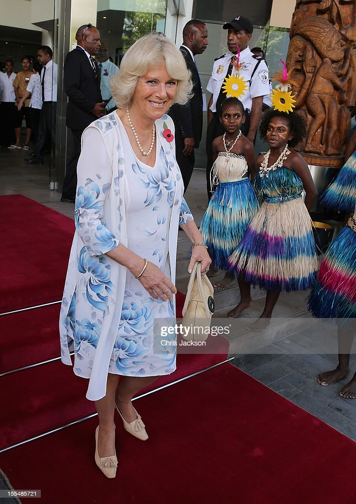 <a gi-track='captionPersonalityLinkClicked' href=/galleries/search?phrase=Camilla+-+Duchess+of+Cornwall&family=editorial&specificpeople=158157 ng-click='$event.stopPropagation()'>Camilla</a>, Duchess of Cornwall is sung to by dancers as she leaves the Airways Hotel on November 4, 2012 in Port Moresby, Papua New Guinea. The Royal couple are in Papua New Guinea on the first leg of a Diamond Jubilee Tour taking in Papua New Guinea, Australia and New Zealand.