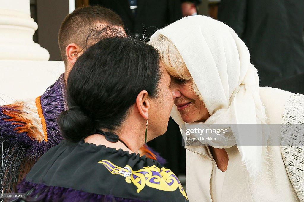 <a gi-track='captionPersonalityLinkClicked' href=/galleries/search?phrase=Camilla+-+Duchess+of+Cornwall&family=editorial&specificpeople=158157 ng-click='$event.stopPropagation()'>Camilla</a>, Duchess of Cornwall, is welcomed with a hongi from New Zealand Defence Force Flight Sergeant Wai Paenga during a welcome ceremony at Government House on November 4, 2015 in Wellington, New Zealand. The Royal couple are on a 12-day tour visiting seven regions in New Zealand and three states and one territory in Australia.