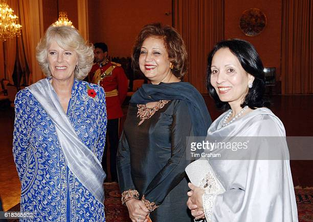 Camilla Duchess of Cornwall joins the Pakistani Prime Minister's wife Begum Rukhsana Aziz and the Pakistani President's wife Sehba Musharraf at a...