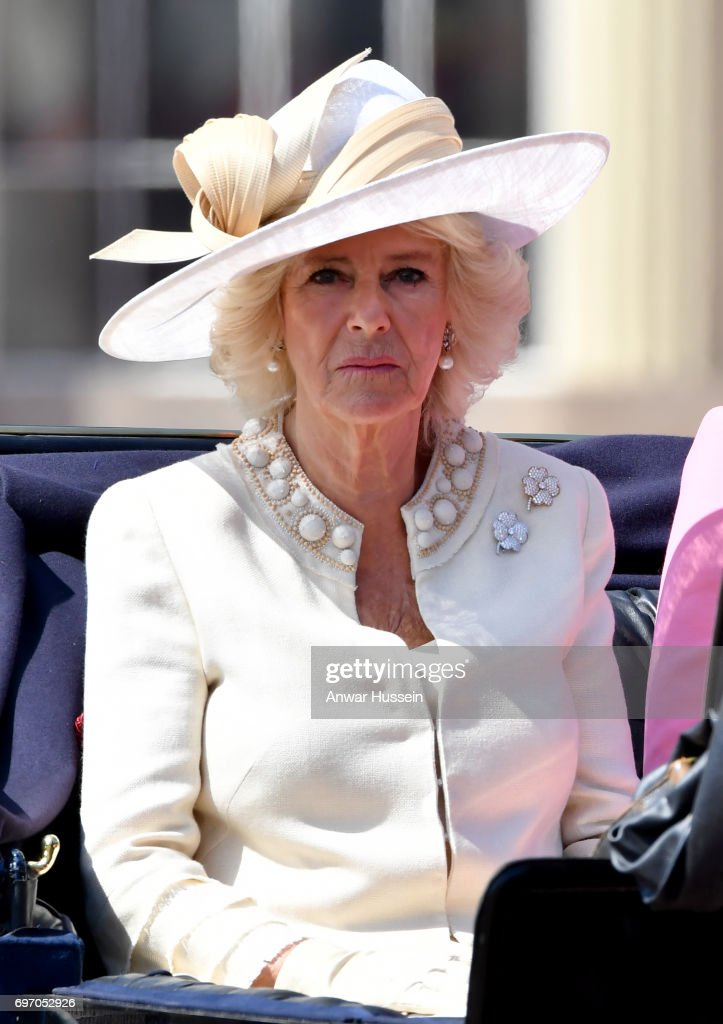 Camilla, Duchess of Cornwall leaves Buckingham Palace in an open carriage to attend the annual Trooping the Colour ceremony on June 17, 2017 in London, England.