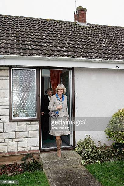 Camilla Duchess of Cornwall leaves Mrs Evelyn Hawkins' home after having tea with her on November 22 2005 in Chippenham England Mrs Evelyn Hawkins...
