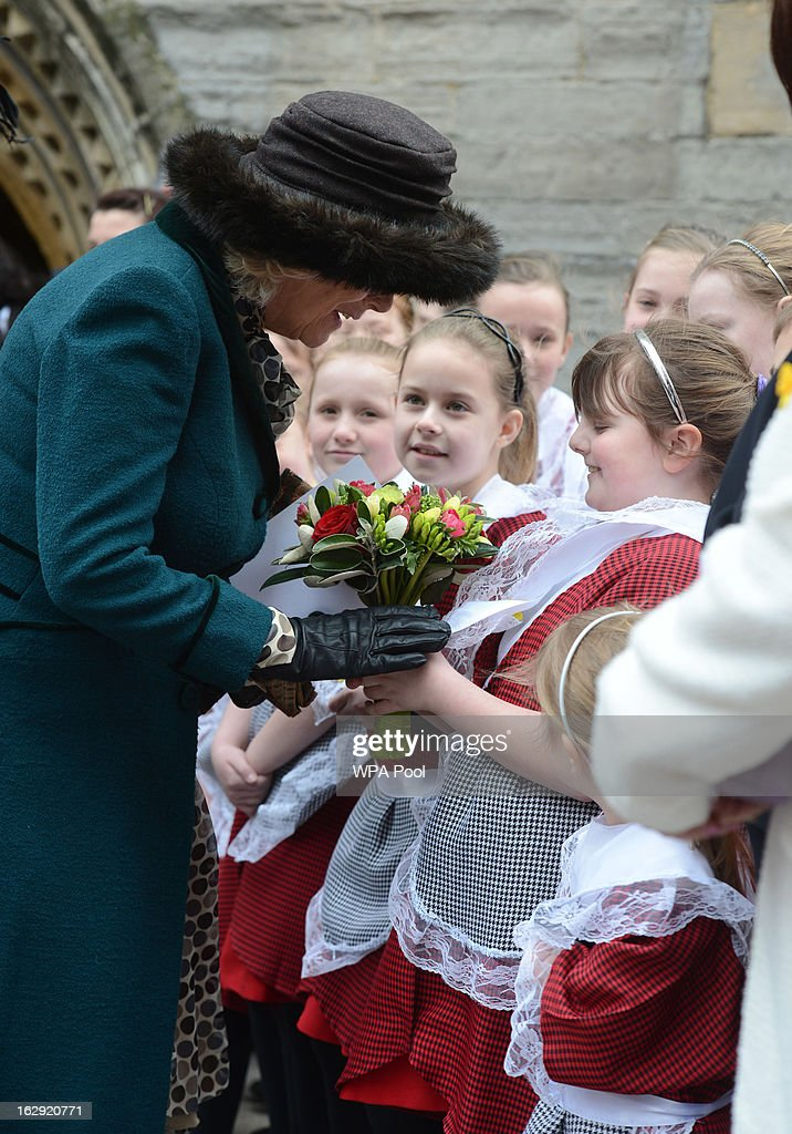 <a gi-track='captionPersonalityLinkClicked' href=/galleries/search?phrase=Camilla+-+Duchess+of+Cornwall&family=editorial&specificpeople=158157 ng-click='$event.stopPropagation()'>Camilla</a>, Duchess of Cornwall leaves St John The Baptist City Parish Church after attending the National St David's Day service on March 1, 2013 in Cardiff, Wales.