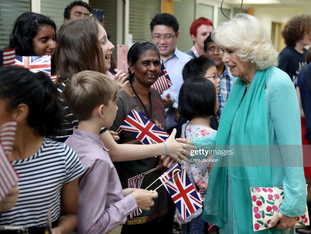 Camilla, Duchess of Cornwall leaves St. Mary's Cathedral during her visit on November 4, 2017 in Kuala Lumpur, Malaysia. Prince Charles, Prince of Wales and Camilla, Duchess of Cornwall are on a tour of Singapore, Malaysia, Brunei and India.