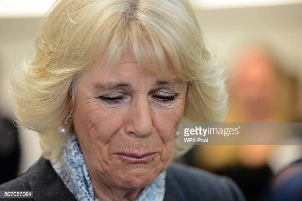 Camilla Duchess of Cornwall listens to Diana Parkes whose daughter Joanna Brown was killed by her husband Robert at Safelives Centre on January 27...