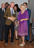 Camilla Duchess of Cornwall looks at the work of artist Michael Landy at the launch of 'The Year of the UK in Mexico 2015' at San Ildefonso College...