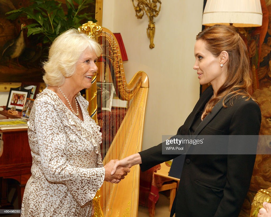 Camilla Duchess of Cornwall meets Angelina Jolie as the actress talked about her campaign against sexual violence in warzones during a private...