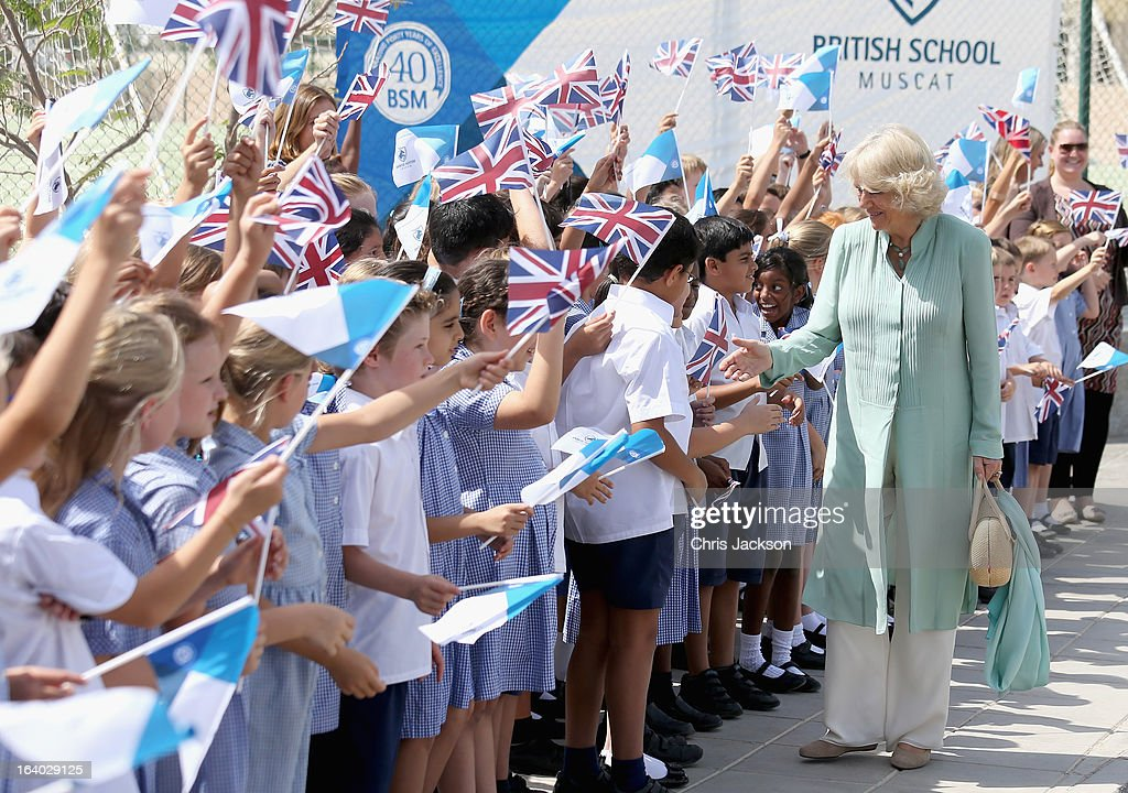 <a gi-track='captionPersonalityLinkClicked' href=/galleries/search?phrase=Camilla+-+Duchess+of+Cornwall&family=editorial&specificpeople=158157 ng-click='$event.stopPropagation()'>Camilla</a>, Duchess of Cornwall meets children as she visits the British School in Muscat on the ninth day of a tour of the Middle East on March 19, 2013 in Muscat, Oman. The Royal couple are on the fourth and final leg of a tour of the Middle East taking in Jordan, Qatar, Saudia Arabia and Oman.